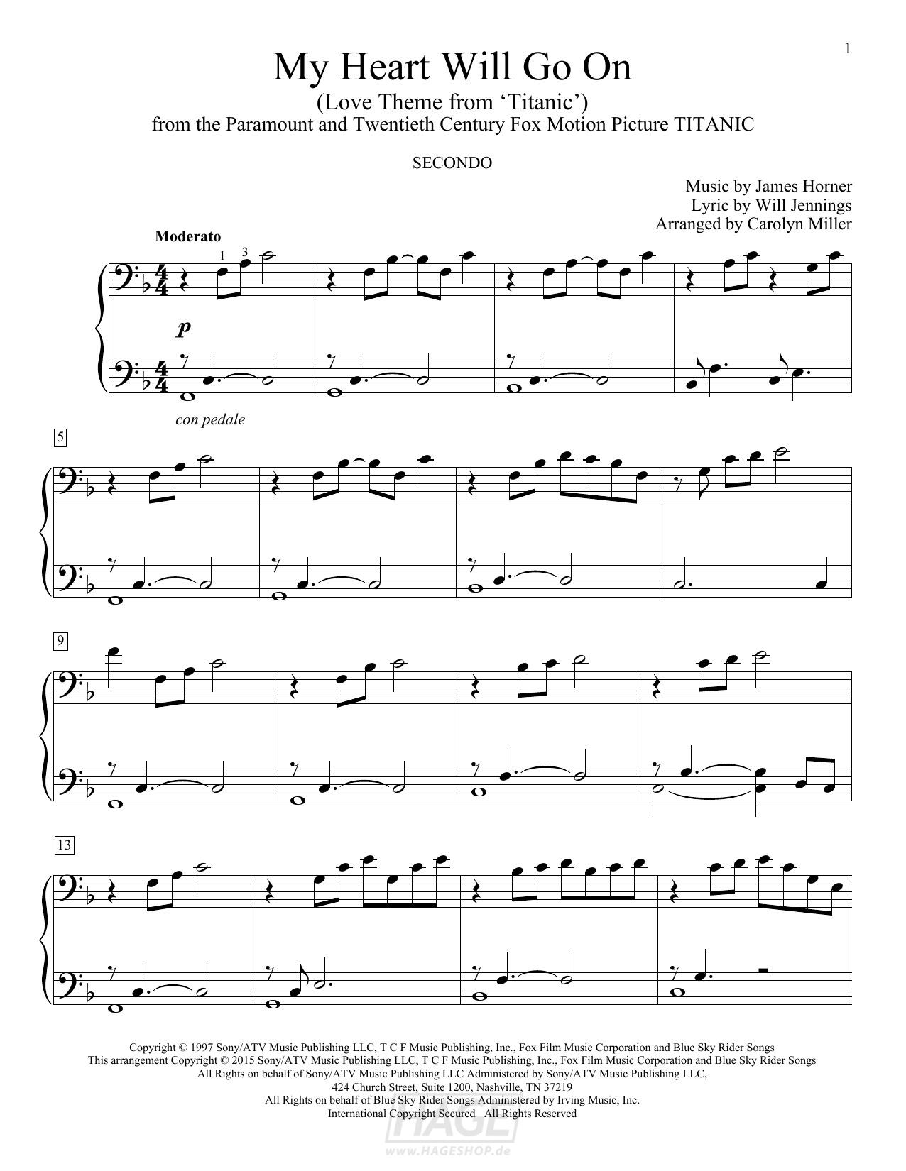 My Heart Will Go On (Love Theme From Titanic) - Celine Dion - Noten Druckvorschau