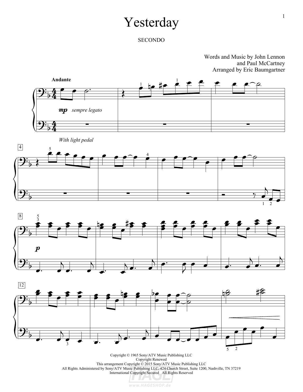 Yesterday - The Beatles - Noten Druckvorschau