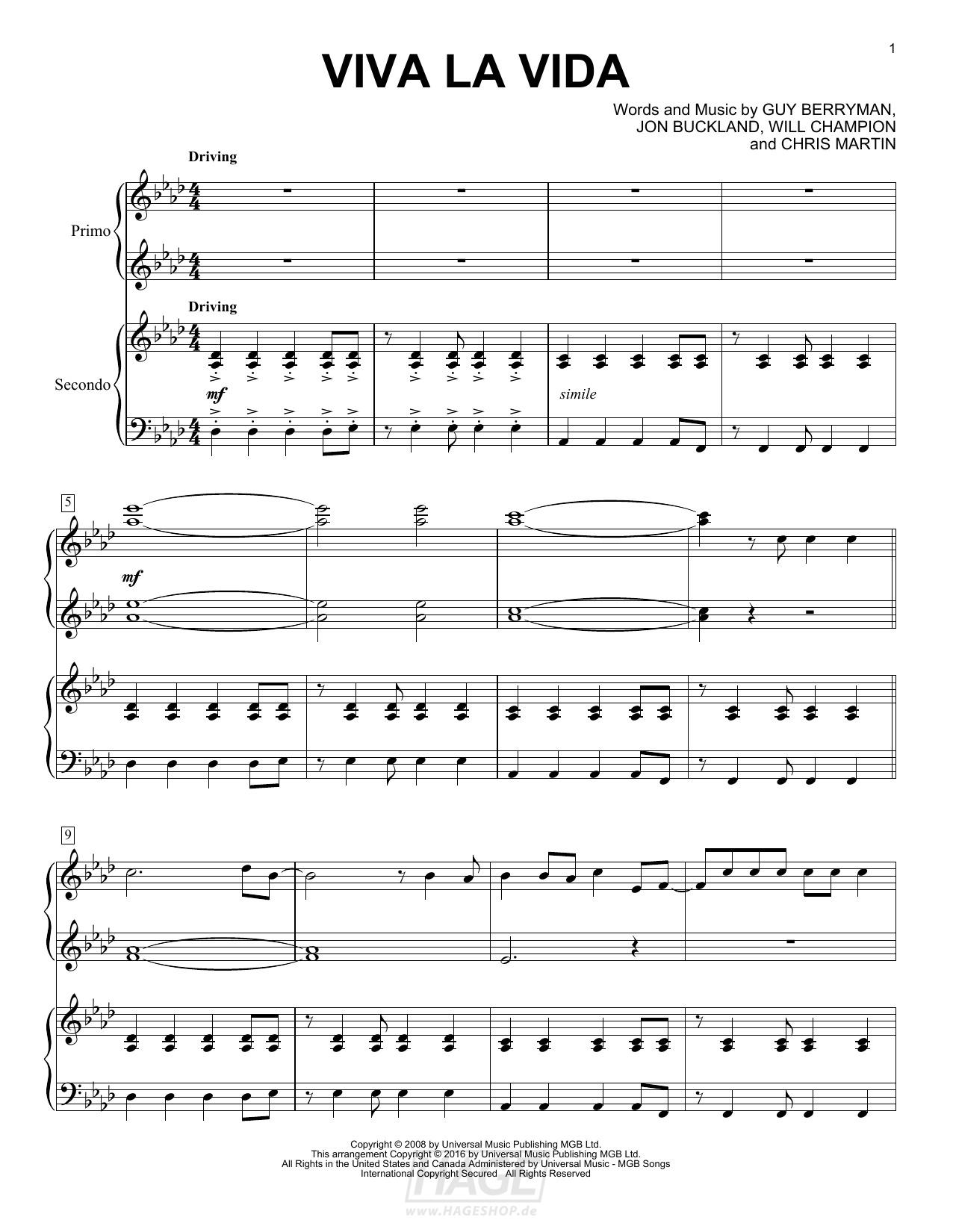 Viva La Vida - Coldplay - Noten Druckvorschau