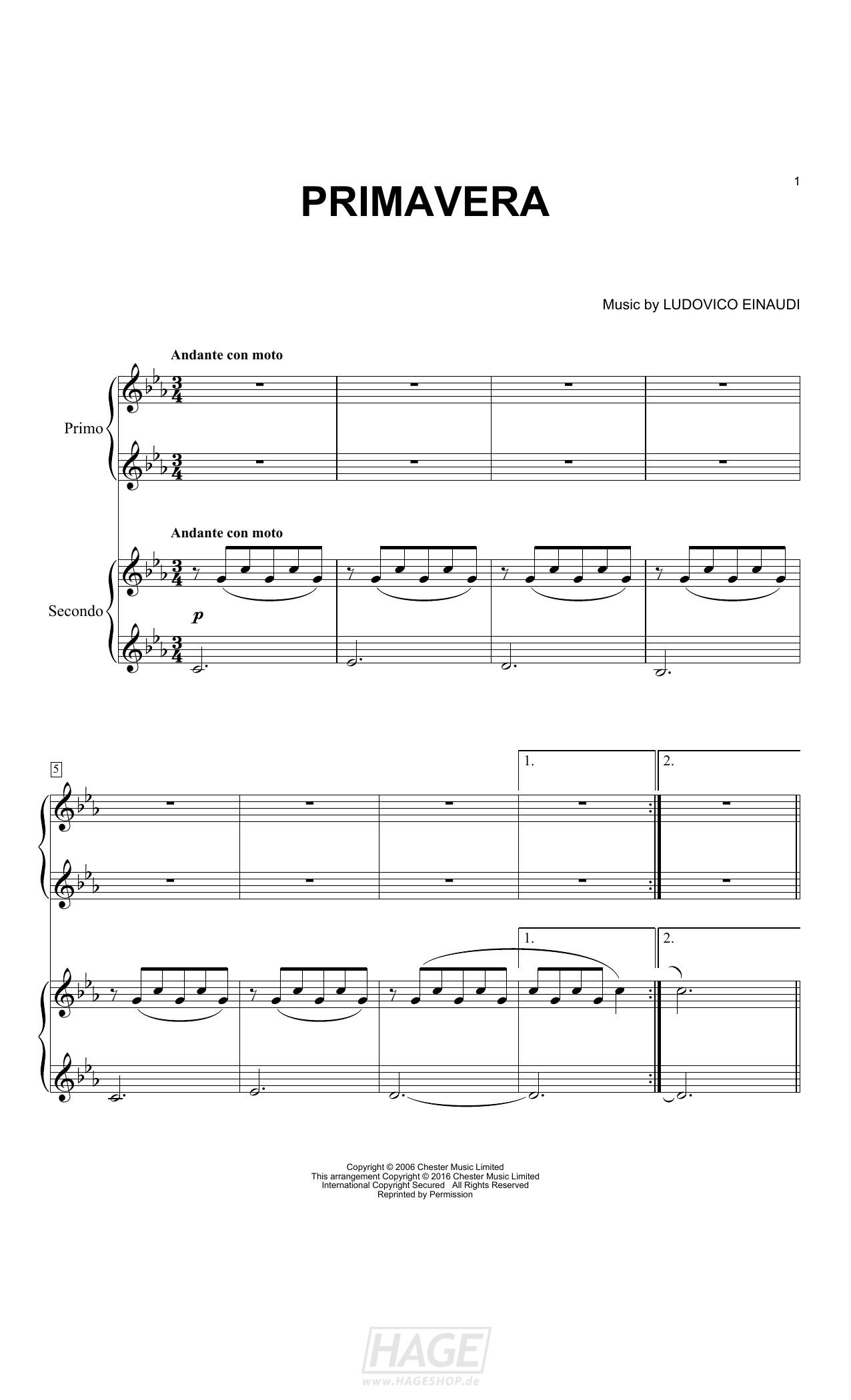 Primavera - Ludovico Einaudi - Noten Druckvorschau