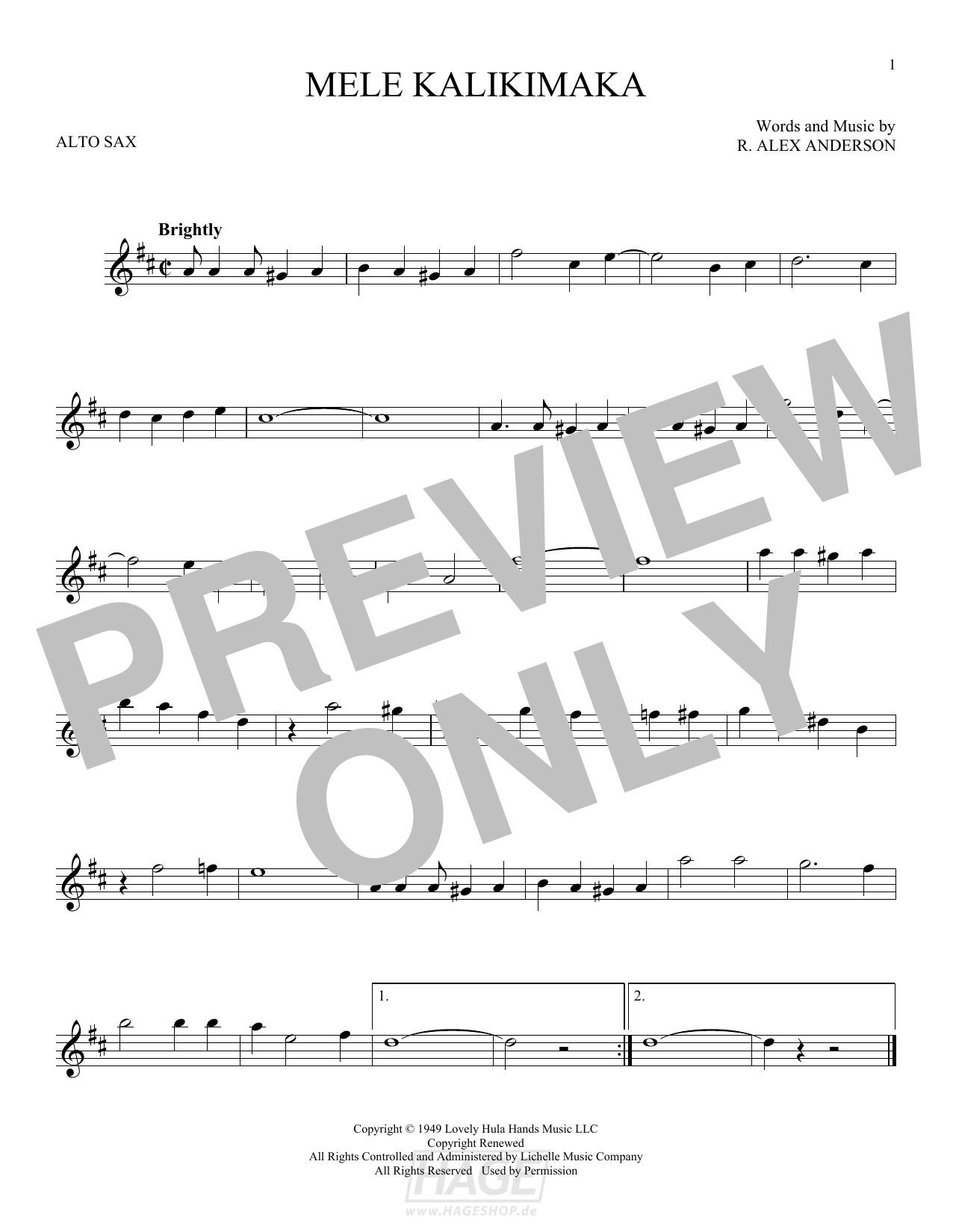Mele Kalikimaka - Bing Crosby - Noten Druckvorschau