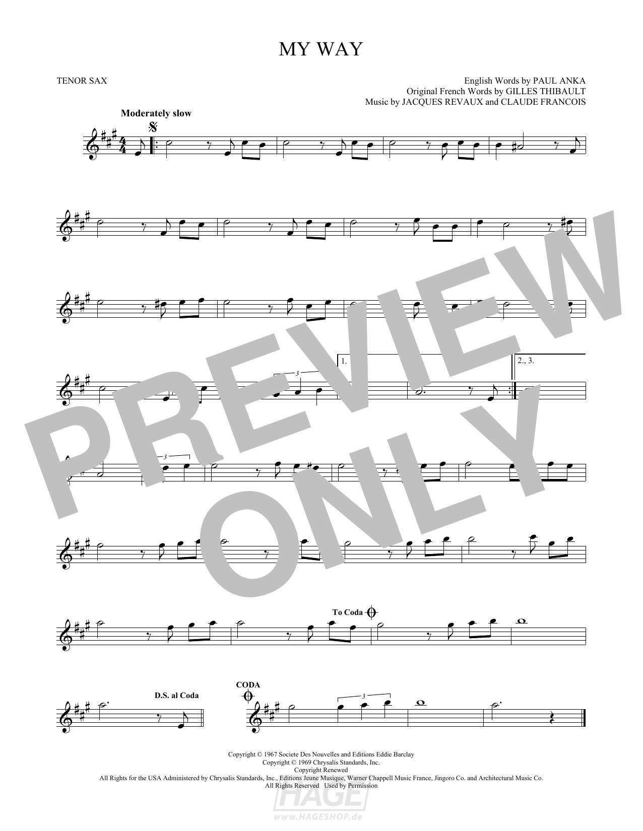 My Way - Frank Sinatra - Noten Druckvorschau