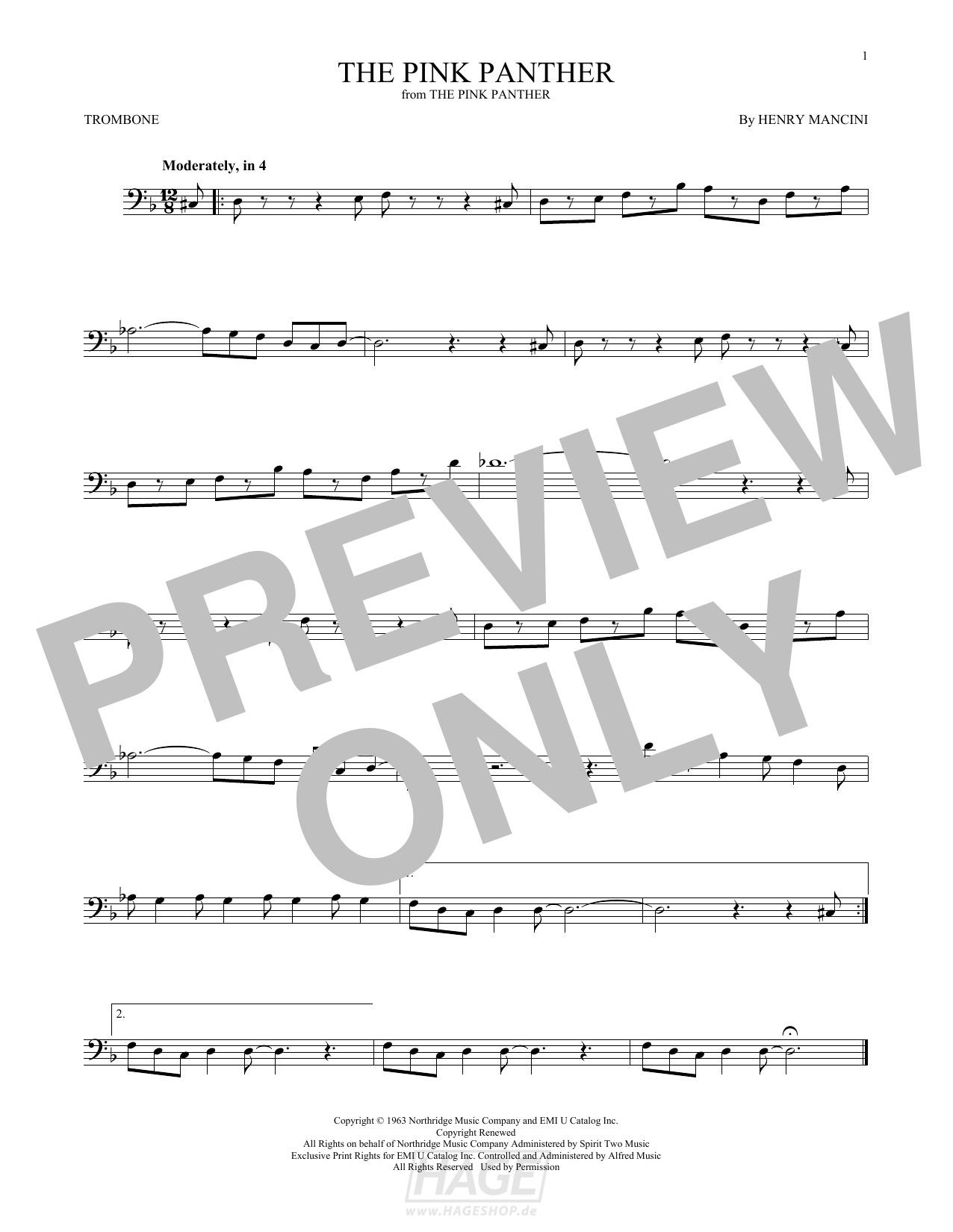 The Pink Panther - Henry Mancini - Noten Druckvorschau