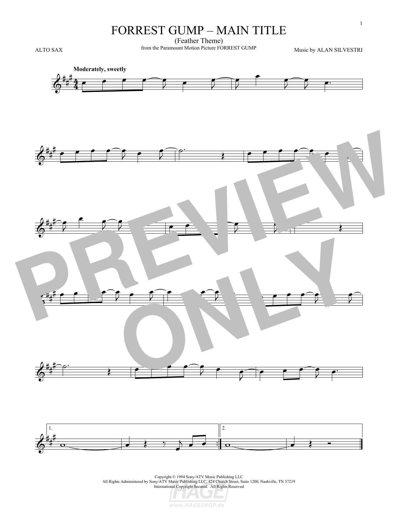 Forrest Gump - Main Title (Feather Theme) - Alan Silvestri - Noten Druckvorschau