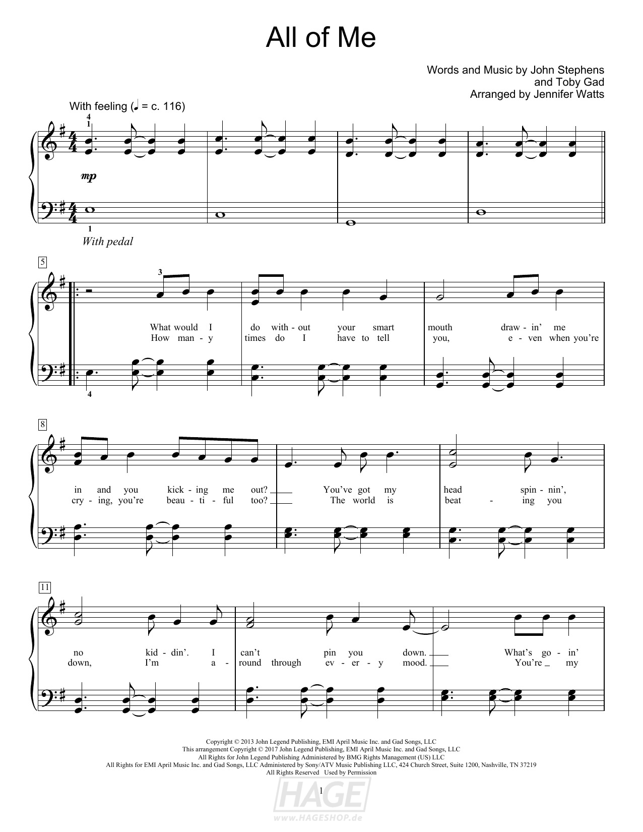 All Of Me - John Legend - Noten Druckvorschau