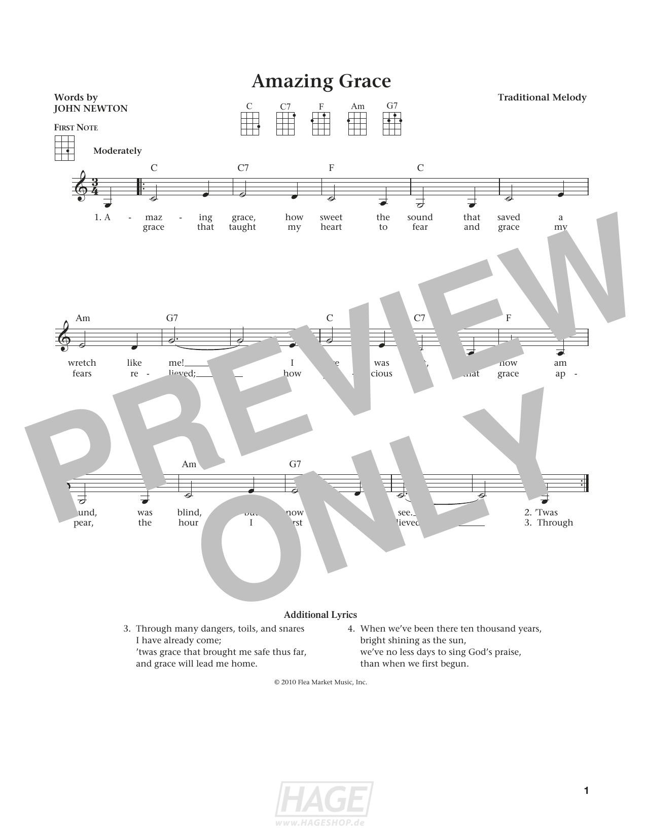 Amazing Grace (from The Daily Ukulele) (arr. Liz and Jim Beloff) - Traditional American Melody - Noten Druckvorschau