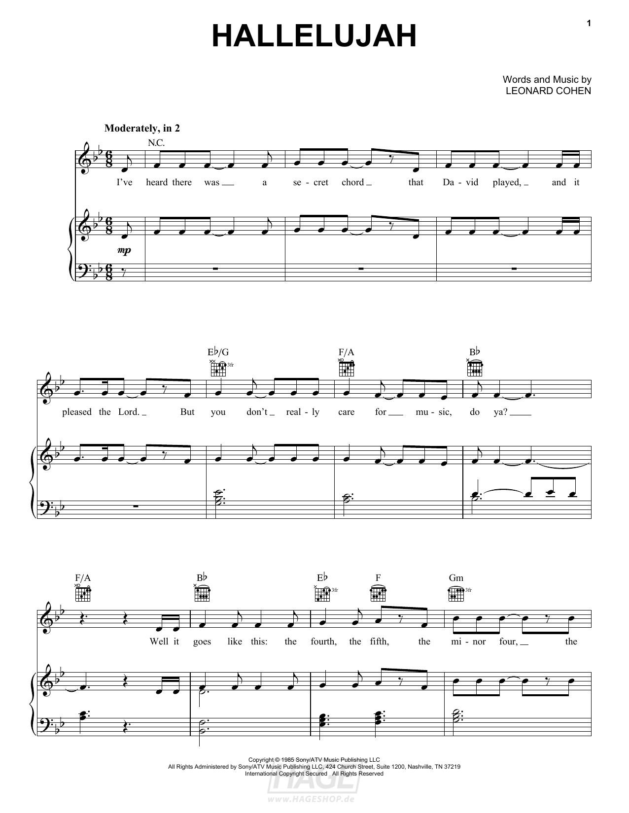 Hallelujah - Pentatonix - Noten Druckvorschau