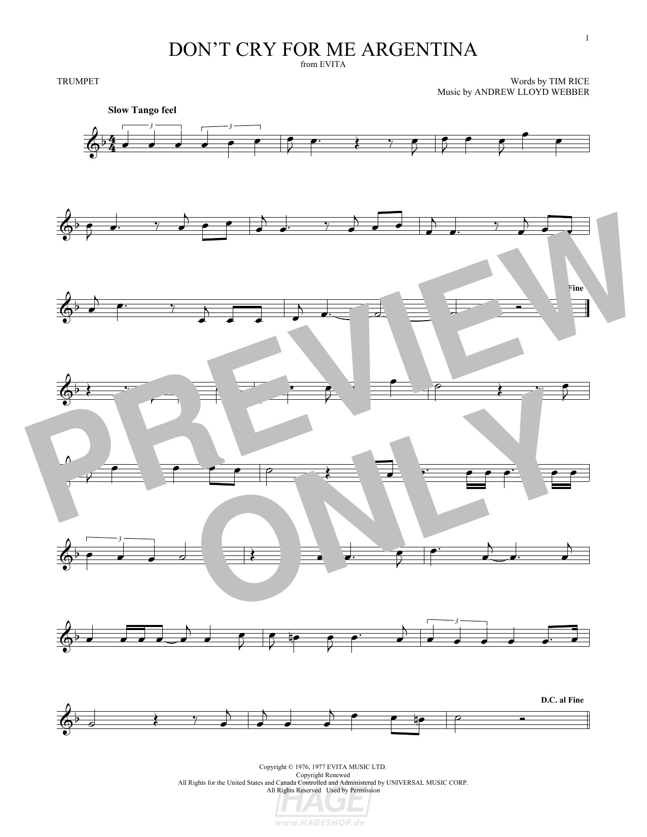 Don't Cry For Me Argentina - Andrew Lloyd Webber - Noten Druckvorschau