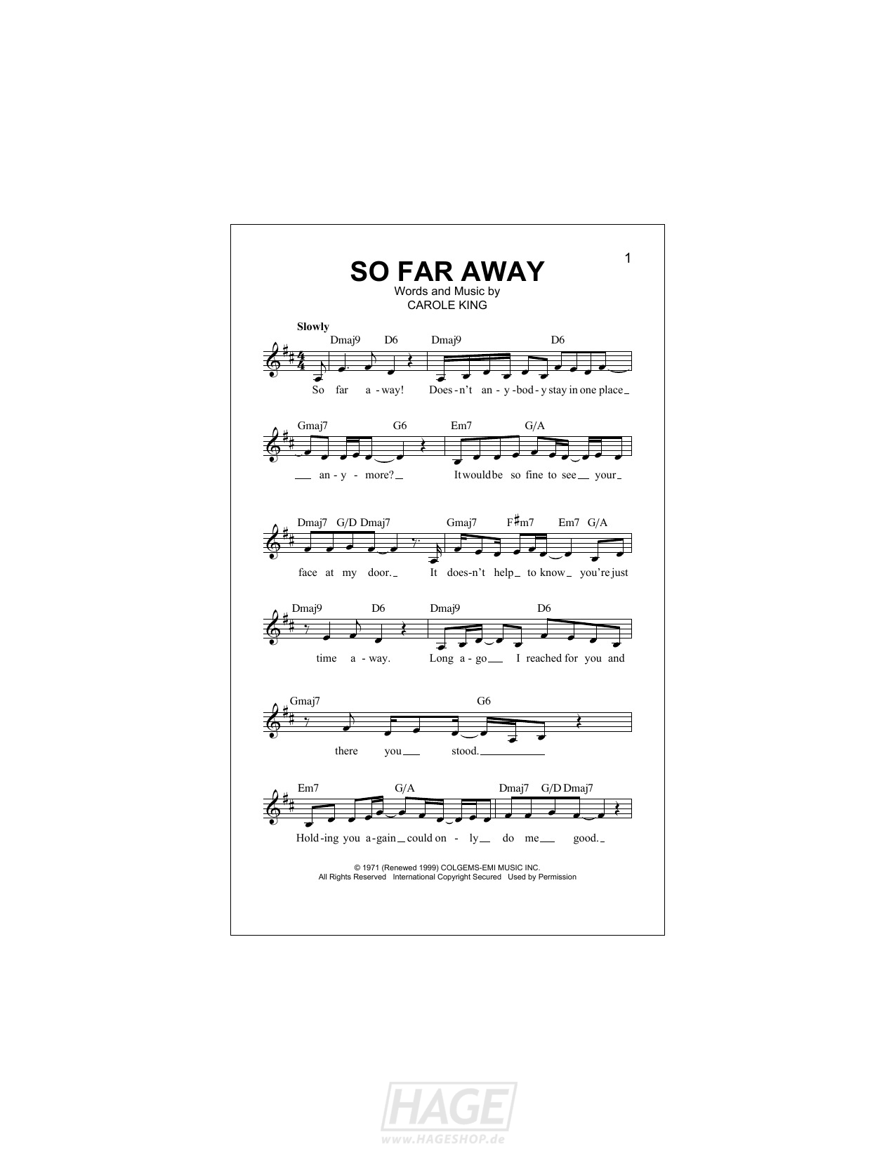 So Far Away - Carole King - Noten Druckvorschau