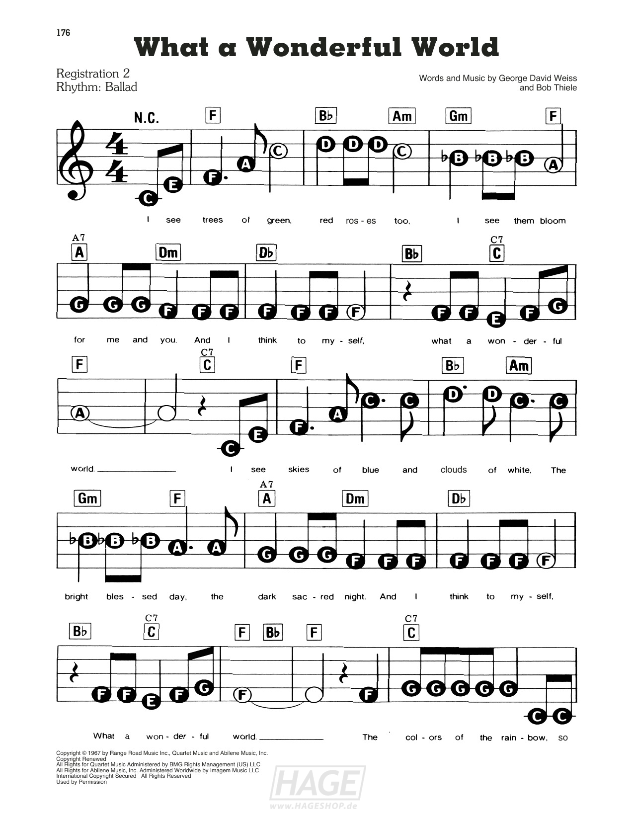 What A Wonderful World - Louis Armstrong - Noten Druckvorschau