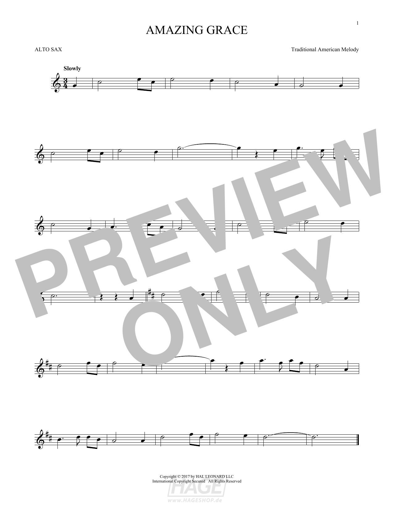 Amazing Grace - Traditional American Melody - Noten Druckvorschau