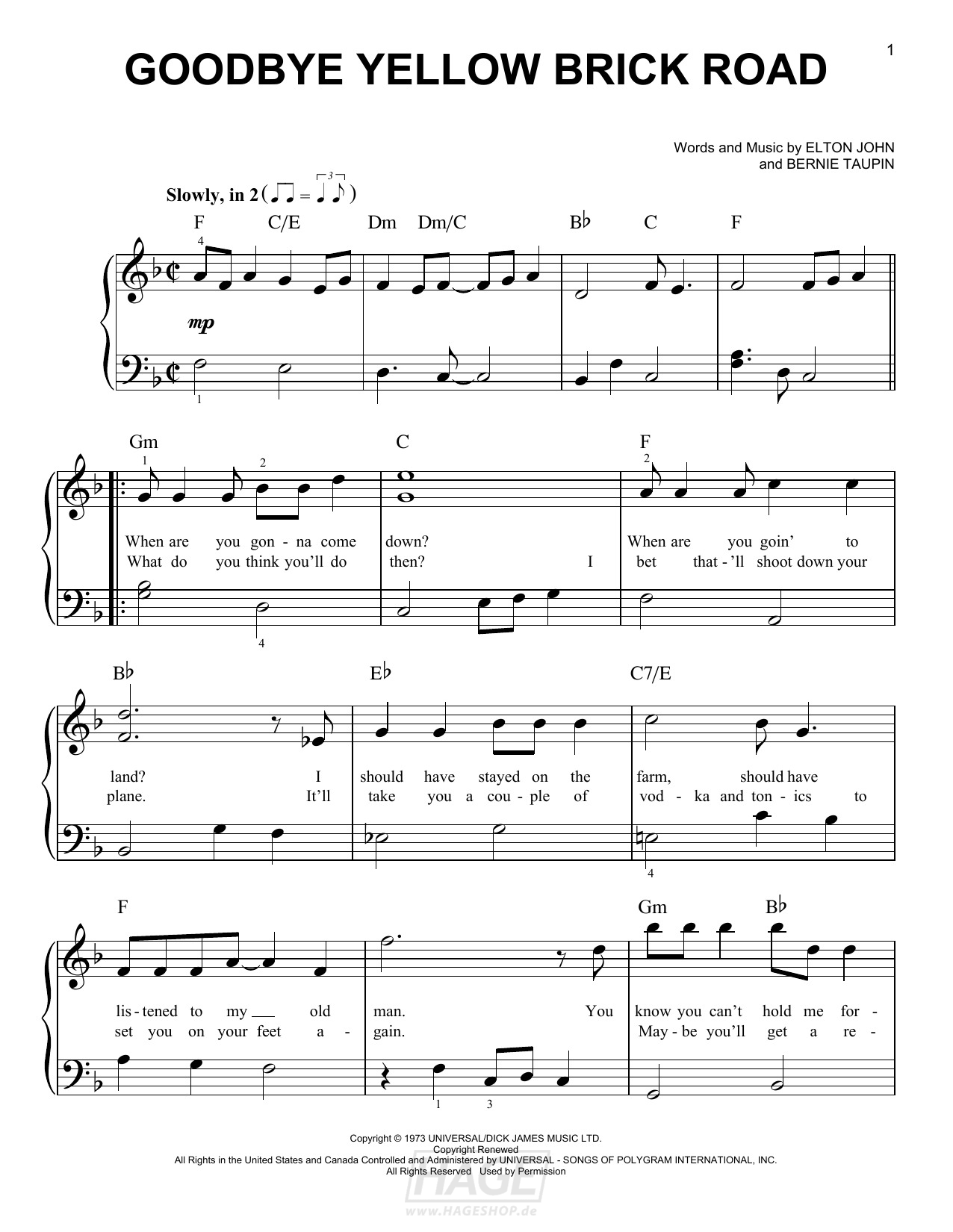 Goodbye Yellow Brick Road - Elton John - Noten Druckvorschau