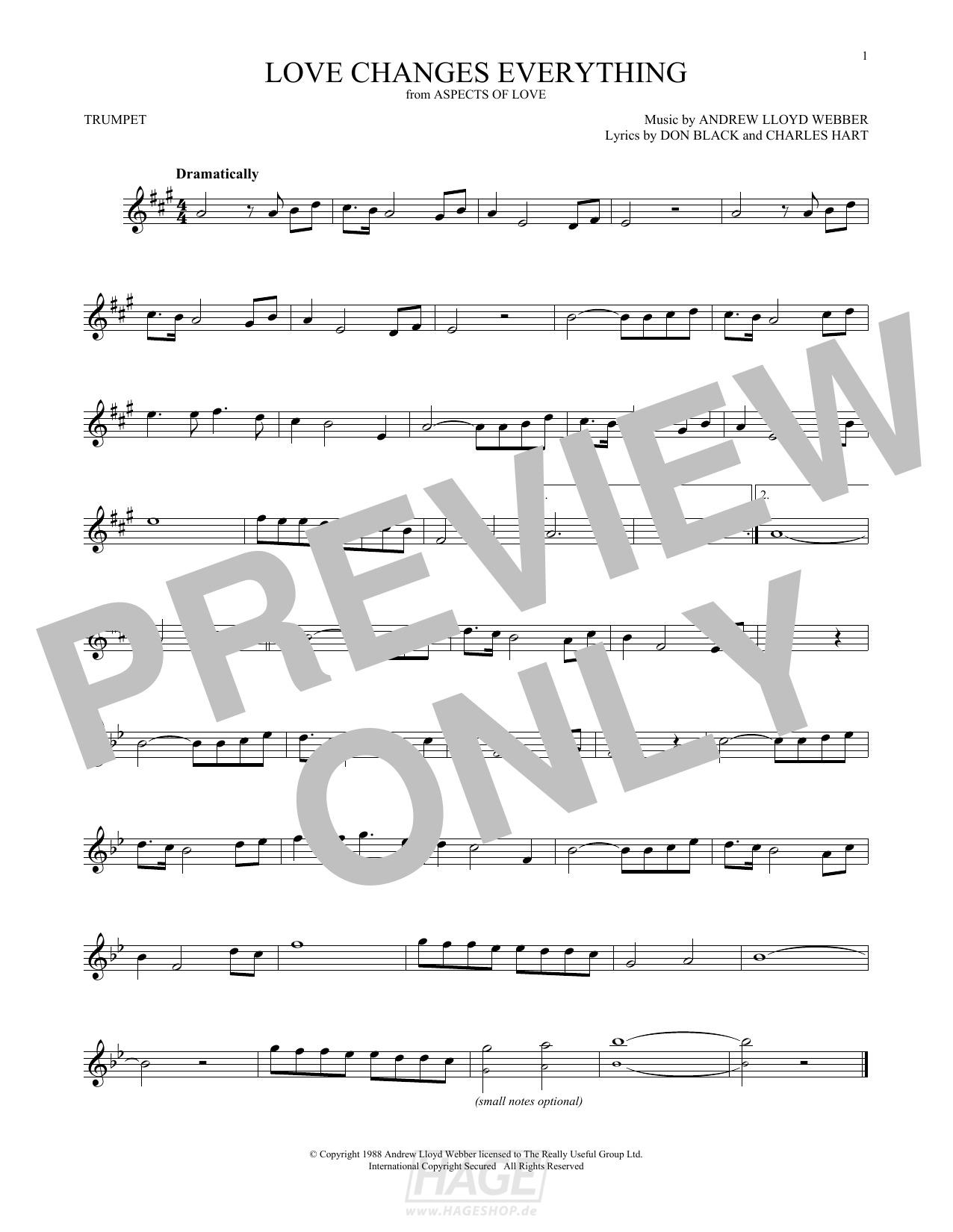 Love Changes Everything - Andrew Lloyd Webber - Noten Druckvorschau