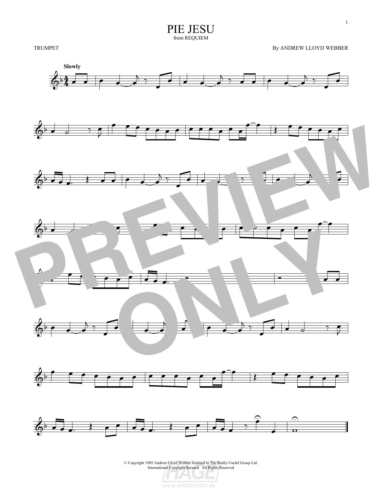 Pie Jesu - Andrew Lloyd Webber - Noten Druckvorschau