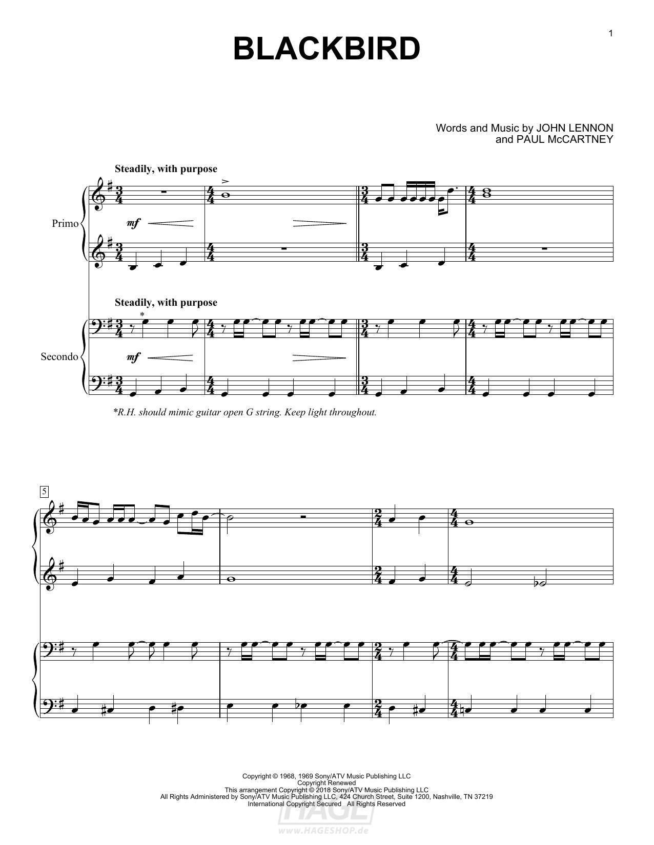 Blackbird - The Beatles - Noten Druckvorschau