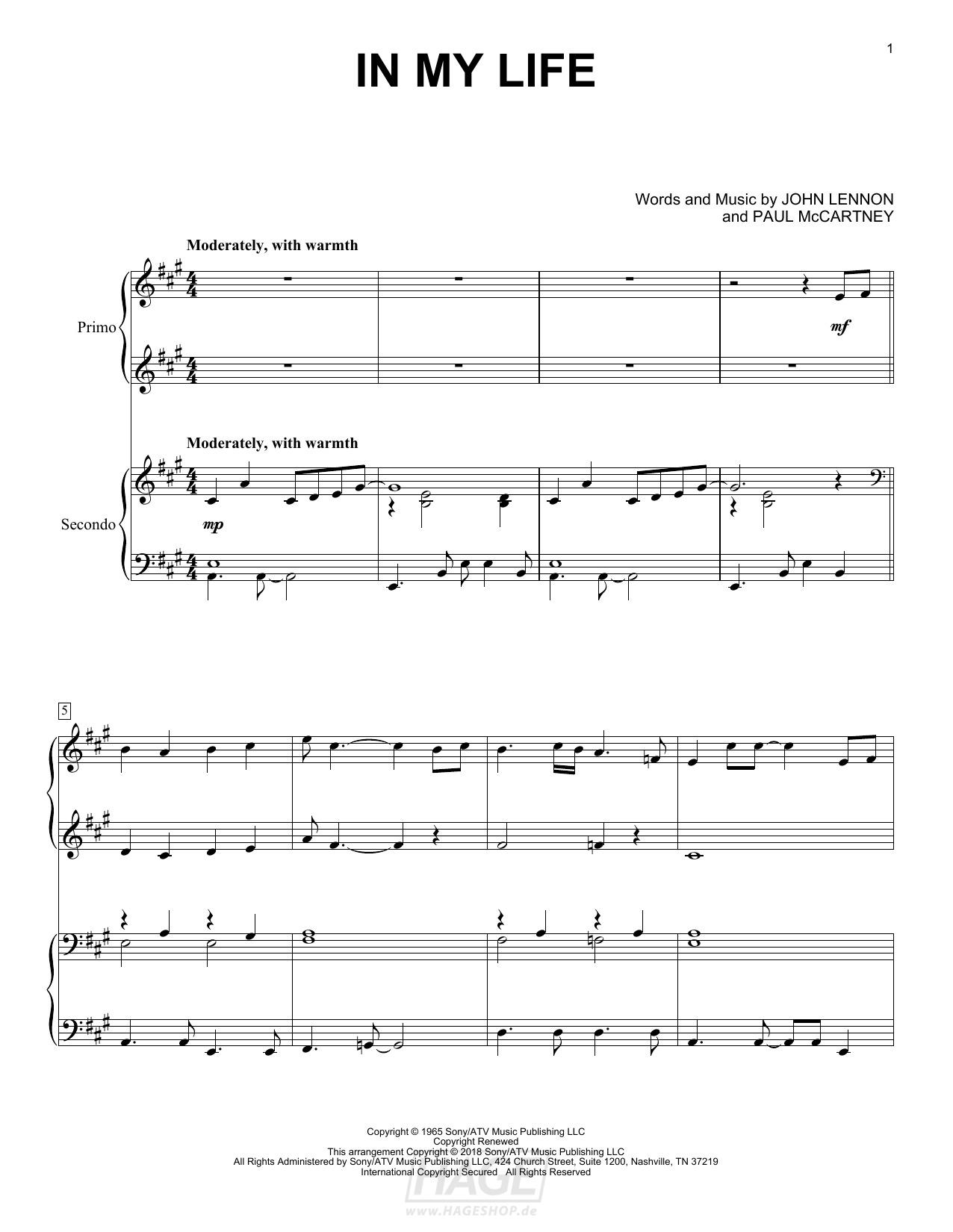 In My Life - The Beatles - Noten Druckvorschau