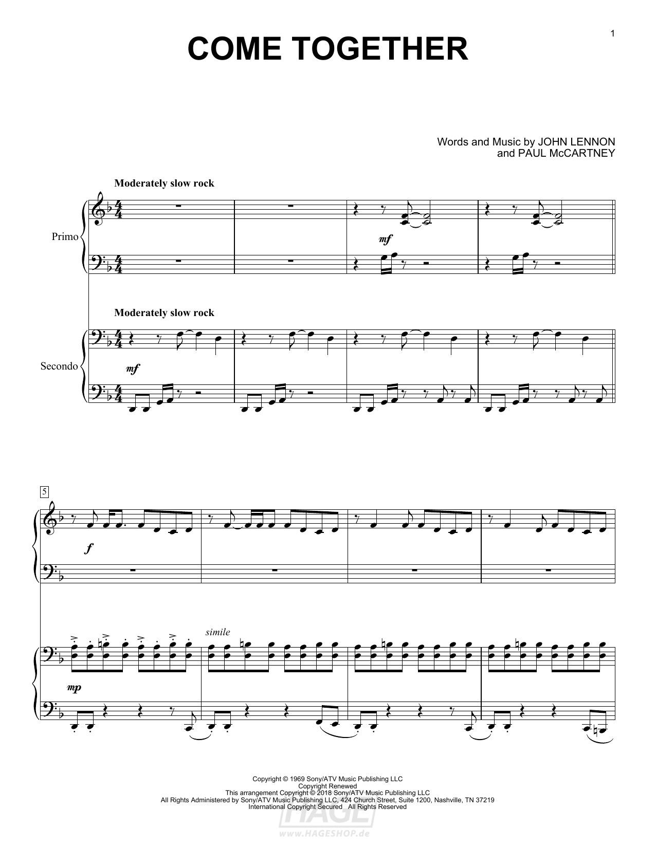 Come Together - The Beatles - Noten Druckvorschau