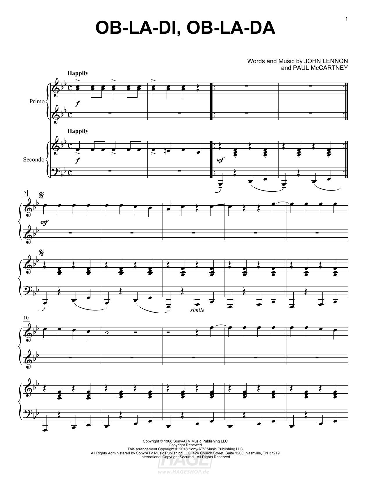 Ob-La-Di, Ob-La-Da - The Beatles - Noten Druckvorschau