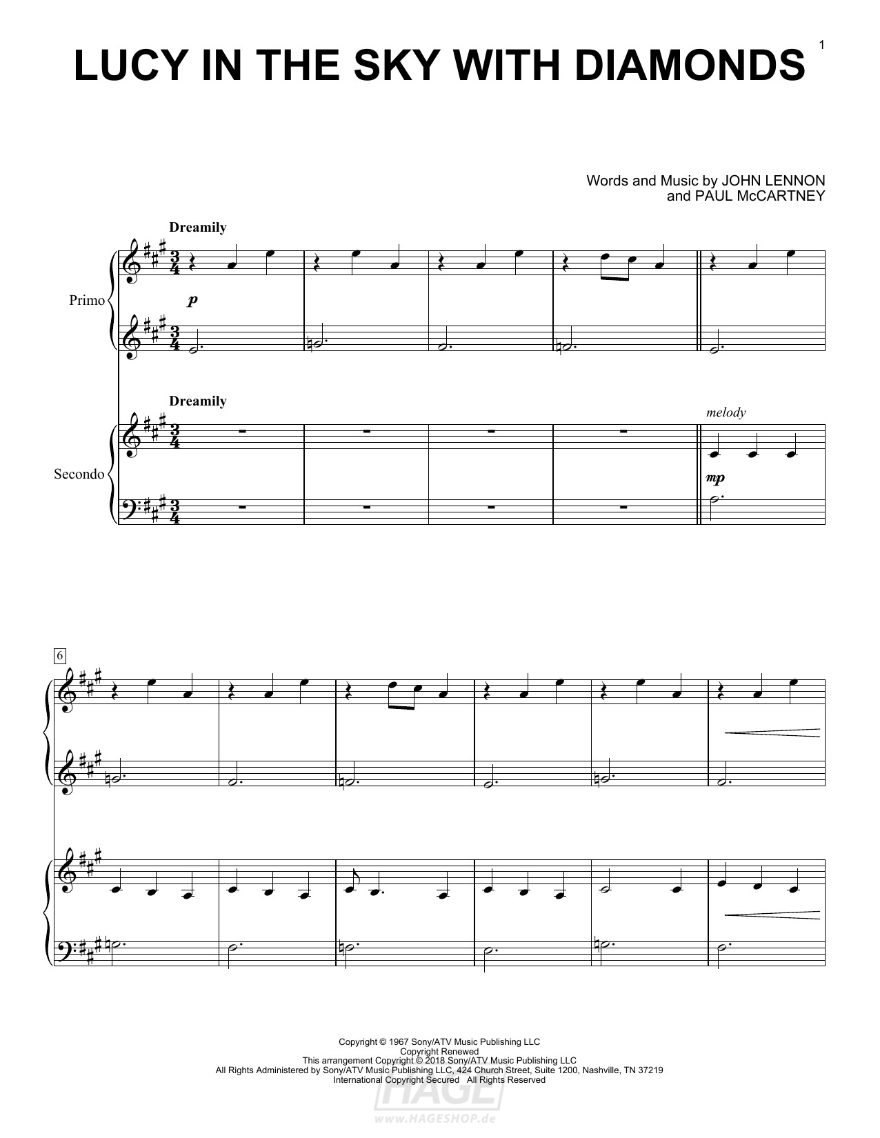 Lucy In The Sky With Diamonds - The Beatles - Noten Druckvorschau