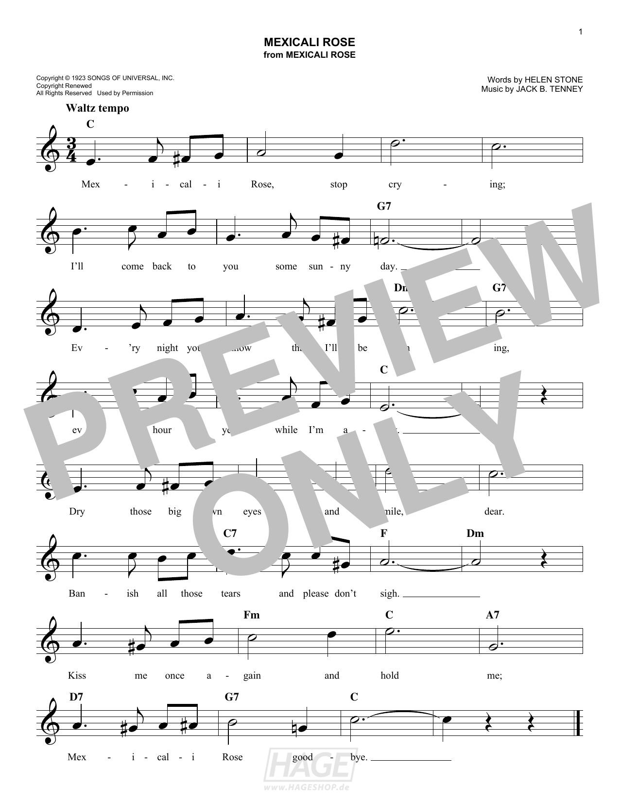 Mexicali Rose - Bing Crosby - Noten Druckvorschau