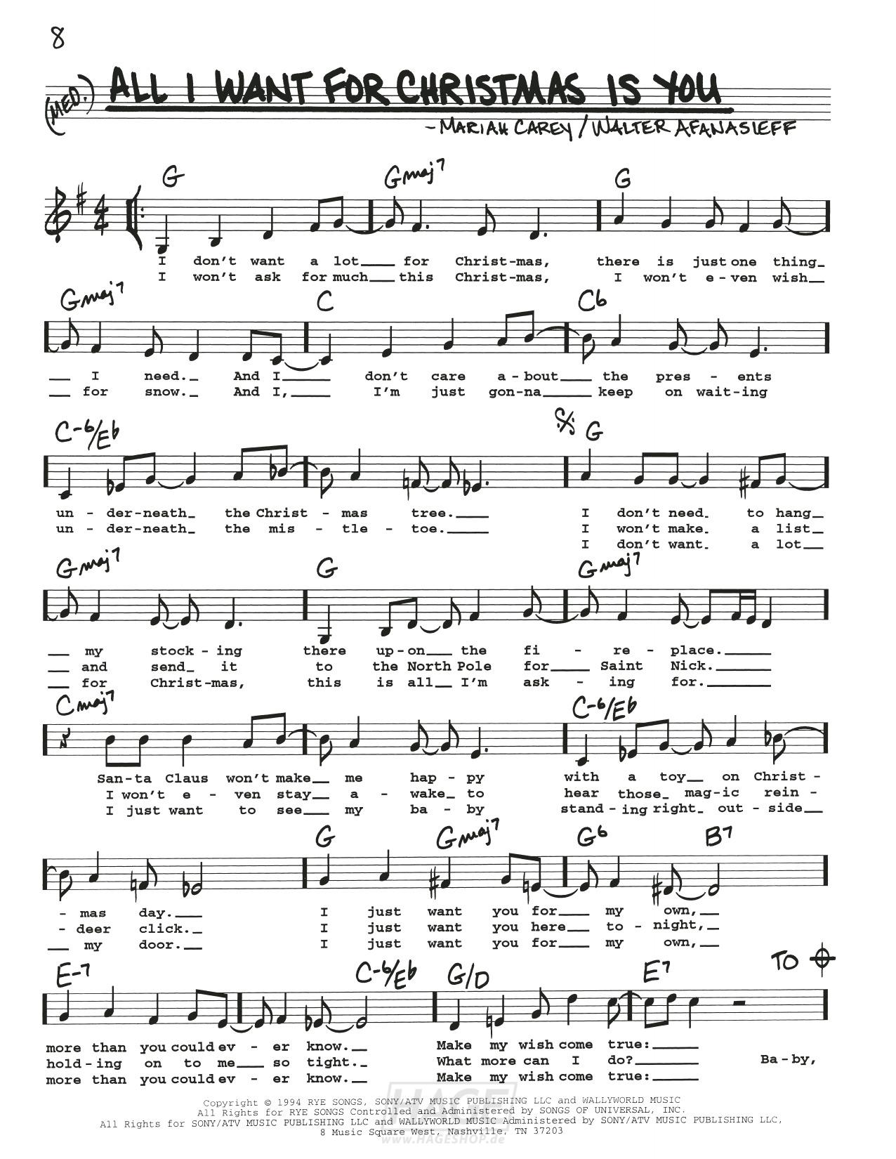 All I Want For Christmas Is You - Mariah Carey - Noten Druckvorschau