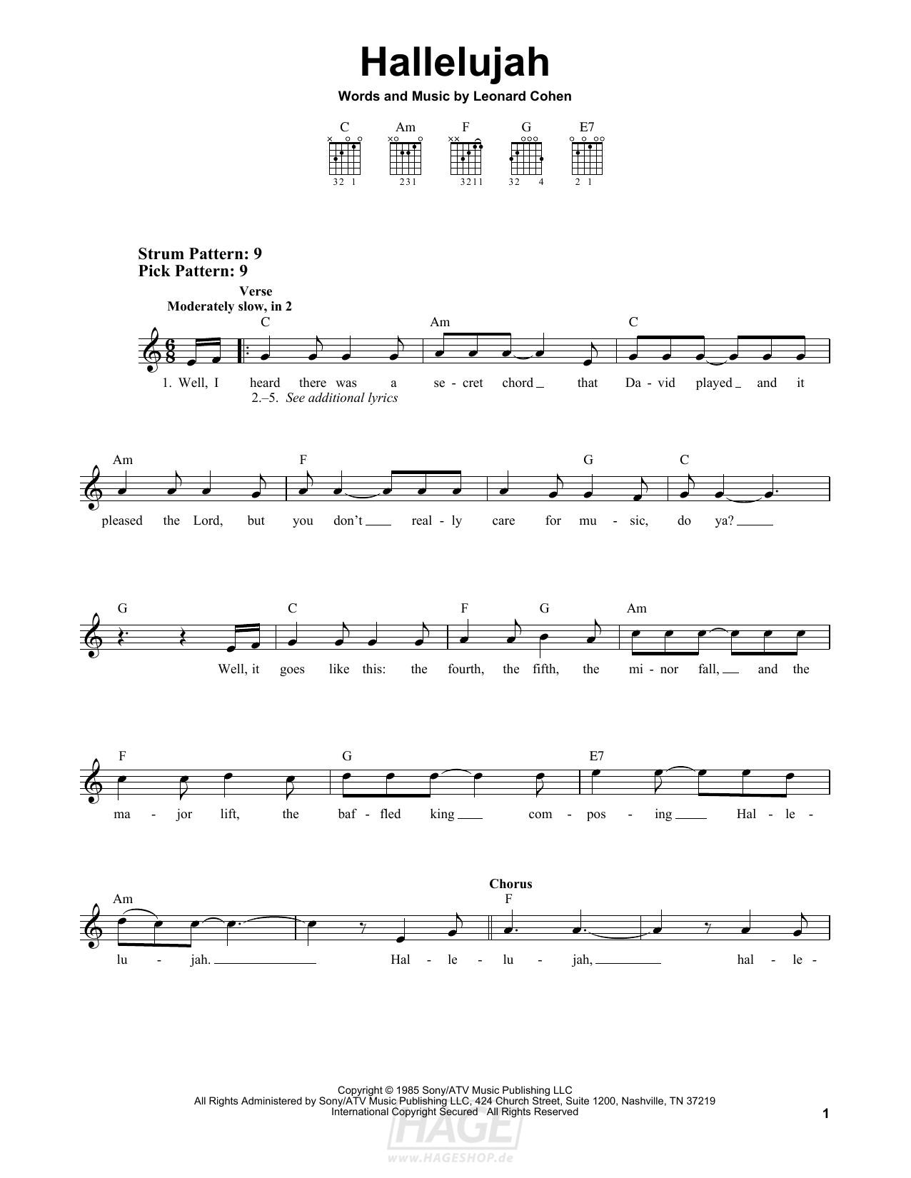 Hallelujah - Leonard Cohen - Noten Druckvorschau