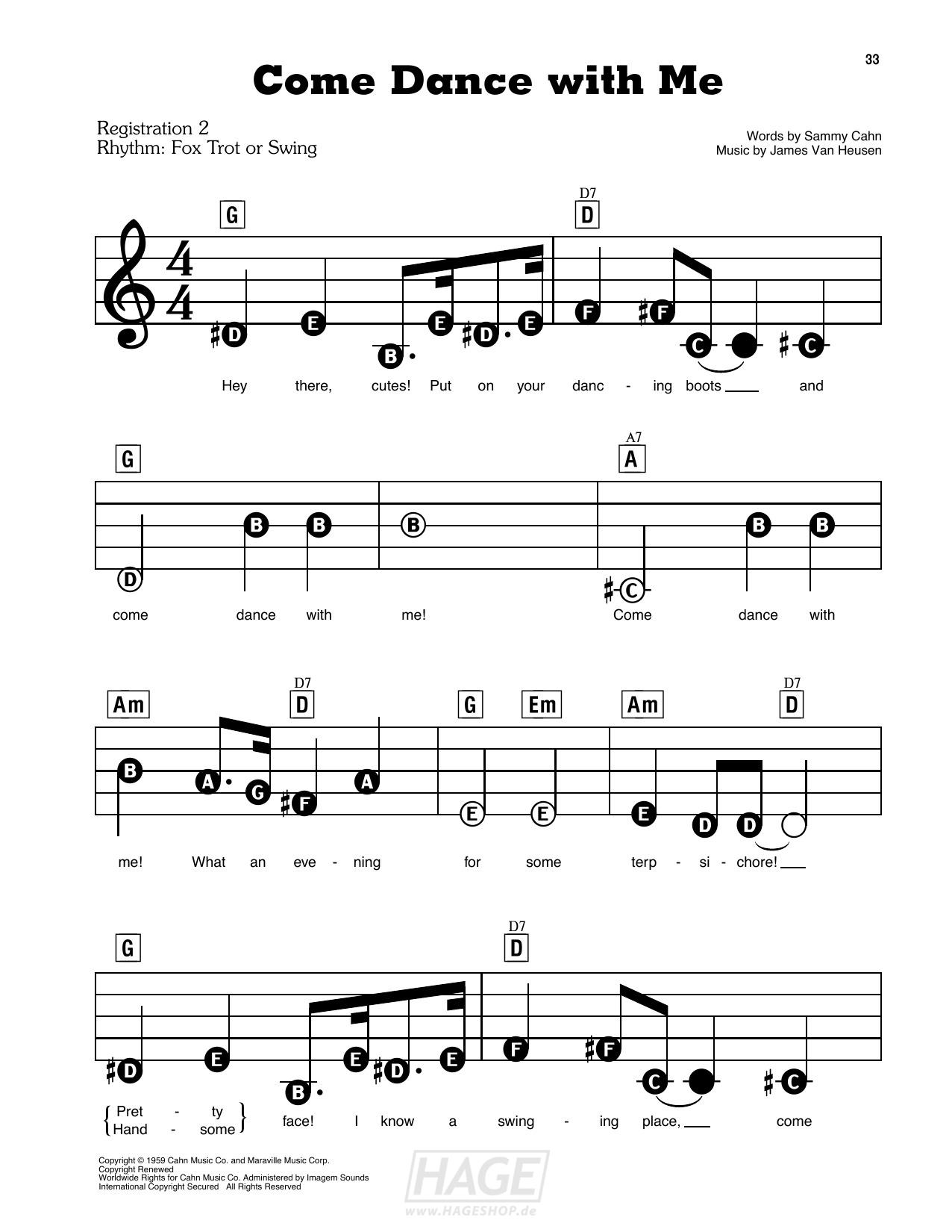 Come Dance With Me - Frank Sinatra - Noten Druckvorschau